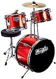 Music Alley DBJK02-MR Kids 3-Piece Beginners Drum Kit , Metallic Red