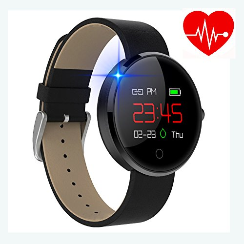 kingkok Colorful OLED Screen Dynamic Heart Rate and Blood Pressure Watch with Pedometer Calories Counter Sleep Monitor Band Waterproof Fitness Tracker Smart Bracelet [Black]