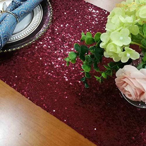 ShinyBeauty Table Runner Sequin Burgundy product image