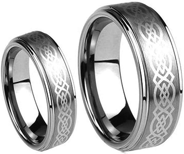 LASER ENGRAVING SERVICE 6mm Celtic Design Laser Engraved Mens Tungsten Wedding Band