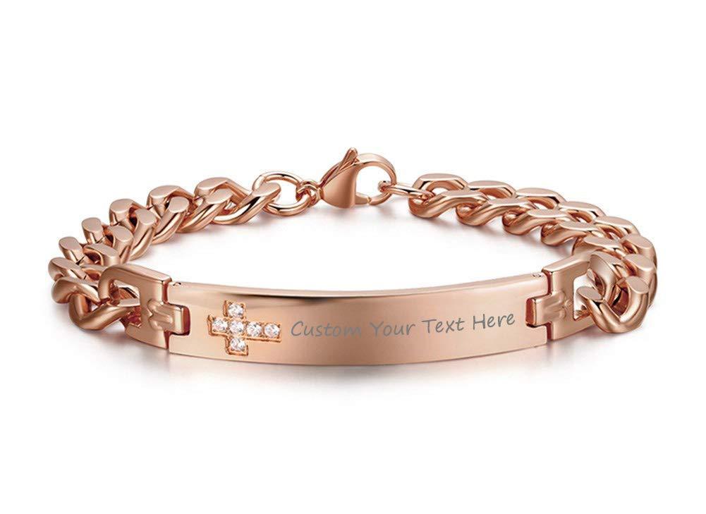 VNOX Free Engraving-9.5MM Stainless Steel CZ Cross Link Chain Lobster Bracelet for Men Women,Rose Gold Plated by VNOX (Image #1)