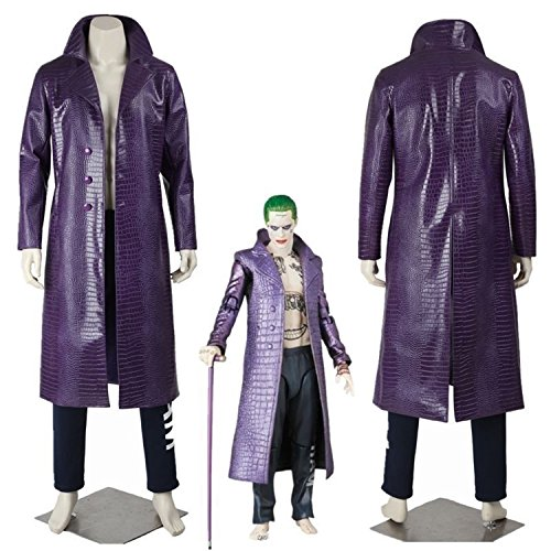 Jared Leto Joker Costume Trench Coat Suicide Squad Crocodile Faux Leather Coat (L)