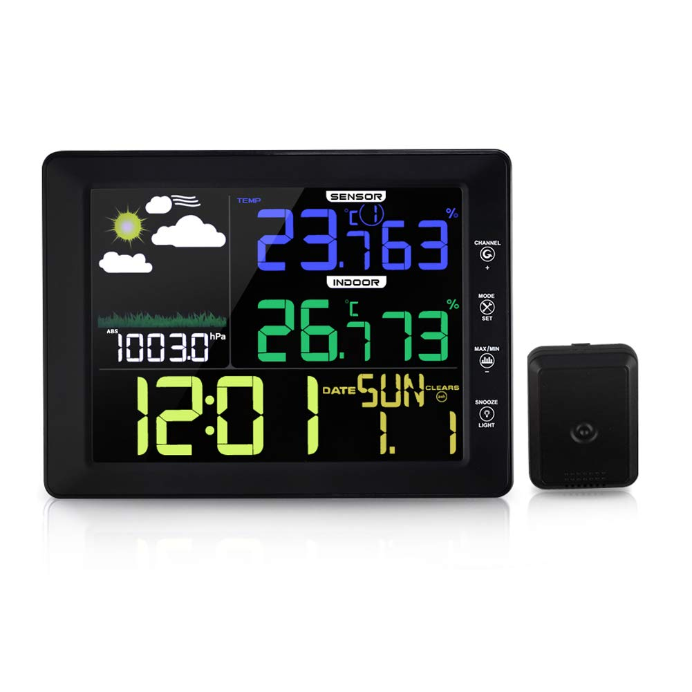 YZmoffer Wireless Color Weather Forecast Station Monitoring Indoor Outdoor Temperature and Humidity Touch Control, Digital Weather Clock Voice-Activated, Wireless Outdoor Sensor (Black)