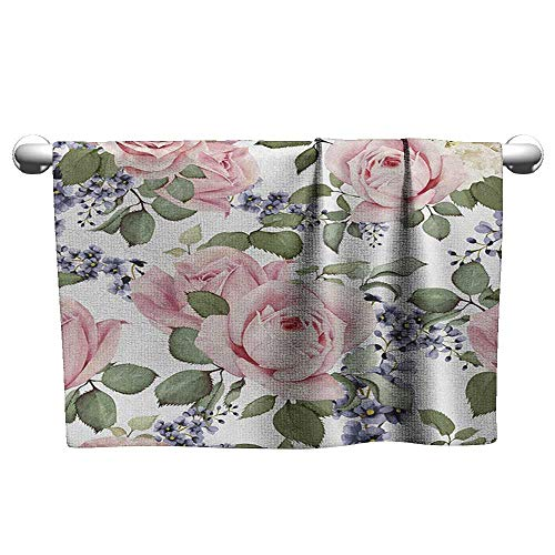 xixiBO Bathroom Towel W35 x L12 Rose,Flourishing Pink Roses with Tender Spring Summer Soulful Blossoms Bridal, Pale Pink Green Bluegrey Pattern Towel
