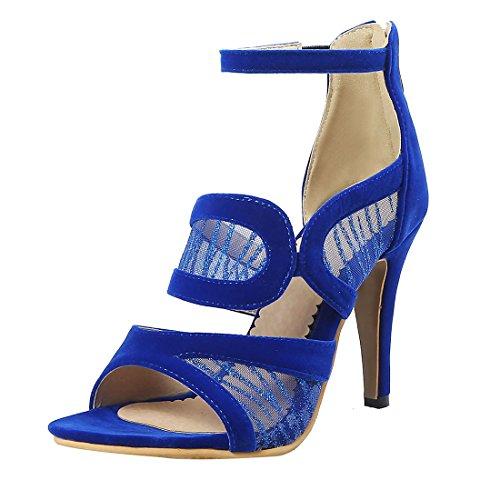 à de à Bleu Femmes Bride Peep Cheville Sandales Avec la Hauts UH Soirée Talons Mode Chaussures Toe la UTqSpwY