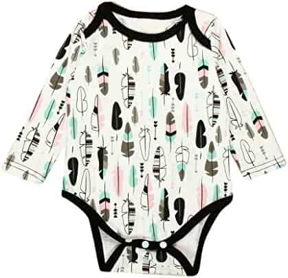 b4094567cd52 LNGRY Newborn Baby Boys Girls Feather Print Long Sleeve Romper Jumpsuit  Clothes