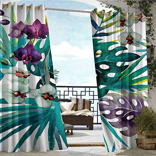 Price comparison product image Andrea Sam Outdoor Balcony Privacy Curtain Green Plant (13), W72 xL96 for Front Porch Covered Patio Gazebo Dock Beach Home