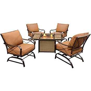 Hanover Outdoor Furniture SUMMRNGHTTILE Summer Nights 5 Piece Conversation  Set With Tile Top Fire Pit Table