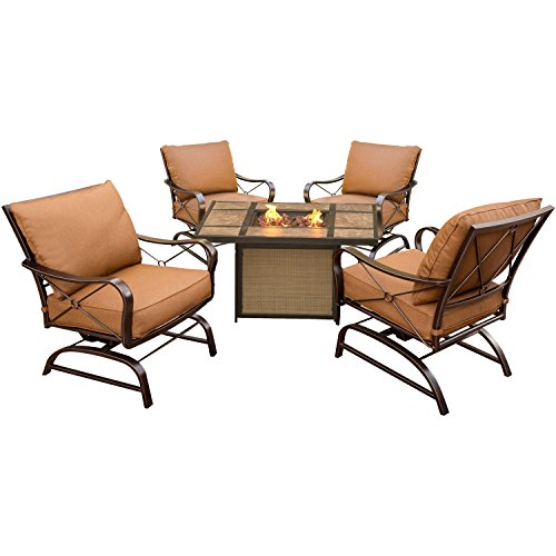 - Hanover SUMMRNGHTTILE Summer Nights 5 Piece Conversation Set with Tile-Top Fire Pit Table Outdoor Furniture, Aluminum/Desert Sunset