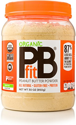 PBfit All-Natural Organic Peanut Butter Powder 30 Ounce, Peanut Butter Powder from Real Roasted Pressed Peanuts, High in Protein, Organic Ingredients