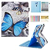 iPad Case, iPad 2/3/4 Case, Dteck Multiple Viewing Angles Folio Stand Smart iPad Case with Auto Sleep/Wake Protective Cover Case for iPad 4th Generation,iPad 3 & iPad 2 - Blue Butterfly