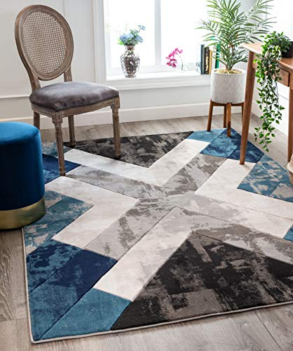 Contemporary Polyester Rug - Well Woven Rheta Blue Modern Geometric Stripes & Angles Pattern Area Rug 8x10 (7'10