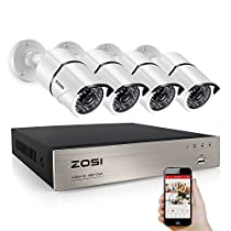 ZOSI 4CH FULL 1080P Video Camera System 4 White Weatherproof 1920TVL 2 MP Cameras 4 Channel 1080P HD-TVI DVR No Hard Disk (100ft Night Vision Smartphone& PC Easy Remote Access) (Certified Refurbished)