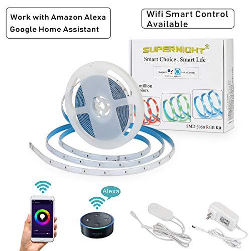 Smart LED Strip Light - Wifi Smart Phone Controlled 16.4ft RGB 5050 Advanced Adhesive Waterproof LED Rope Light, UL-Listed Power Supply, Smart Controller Compatible with Amazon Alexa and Google Home by SUPERNIGHT