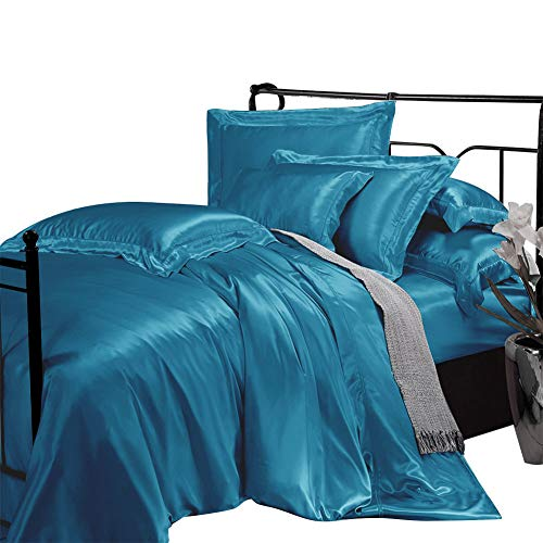 THXSILK 19 Momme Silk Duvet Cover Set 4 Piece, Silk Sheets, Luxury Bedding...