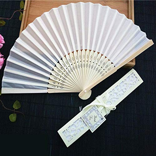 Wedding Gifts - 50Pcs/Lot Personalized Luxurious Silk Fold Hand Fan in Elegant Laser Cut Gift Box +Party Favors/Wedding Gifts - by GTIN - 1 Pcs