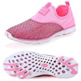 Pooluly Women's Lightweight Athletic Quick Drying Mesh Aqua Slip-on Water Shoes