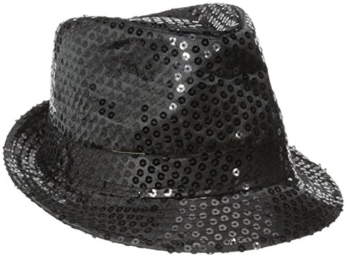 (Be Wicked Women's Sequin Fedora Hat, Black, One Size)