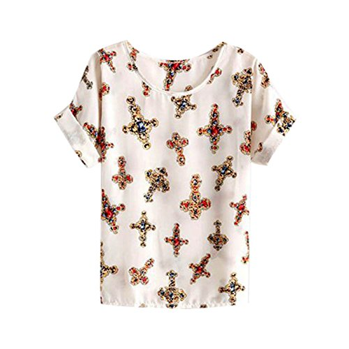 Price comparison product image ROPALIA Ladies Girl summer Chiffon Loose Blouse Cross Printed T-shirts Beige UsM