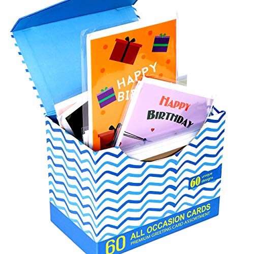 60 Pack Assorted All Occasion Greeting Cards-60 UNIQUE DESIGNS, BIG 5x7 Inches, Happy Birthday, Get Well, Thank You, Congratulations Assortment, Magnetic Bulk Box Set Variety Pack with Thick Envelope