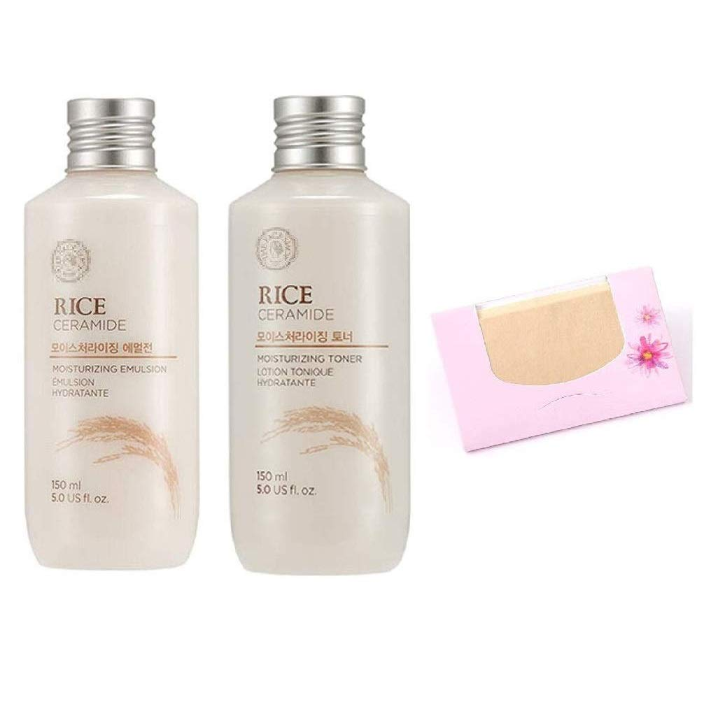 SoltreeBundle-Korean Beauty Best Rice & Ceramide Moisture SET(Emulsion + Toner) with SoltreeBundle Natural Hemp Paper 50pcs