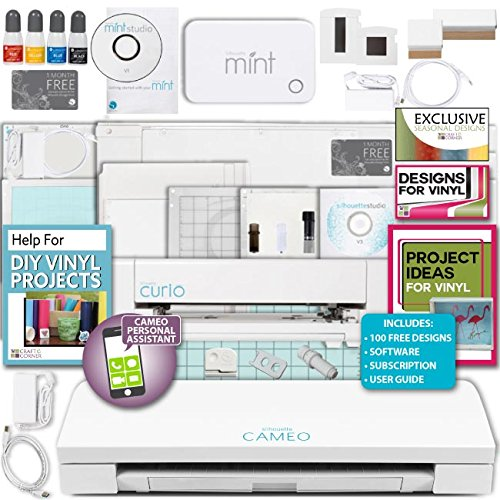 Silhouette Cameo 3 Machine Bundle, Curio machine with 12'' larger base included, Mint Machine, 24 Exclusive Designs by Silhouette America