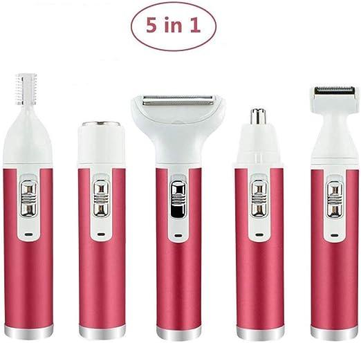 Afeitadora eléctrica para mujer Depilación facial for las mujeres, 5 en 1 kit de extracción indolora