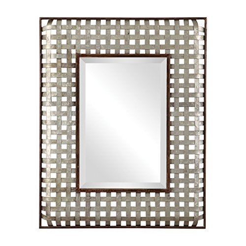 - My Swanky Home Luxe Woven Galvanized Metal Straps Wall Mirror | 36