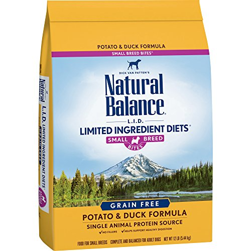 Natural Balance Small Breed Bites L.I.D. Limited Ingredient Diets Dry Dog Food, Grain Free, Potato & Duck Formula, 12-Pound (Breed Dog Bites)