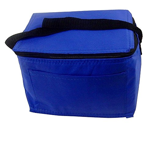 (Nylon Insulated Lunch Box Tote, Foil Lined - Blue.)
