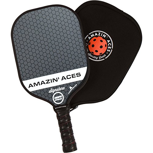 Amazin Aces Signature Pickleball Paddle | USAPA Approved | Graphite Face & Polymer Core | Premium Grip | Paddles Available as Single or Set | Set Includes Balls & Bag | Includes Racket Case & eBook