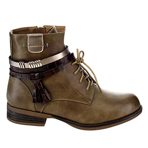 Vegan khaki Funky Strappy Stacked Bootie 1 Fourever Tassel Women's up Zip Low Lace Side Leather Ankle PZcqcg8dS
