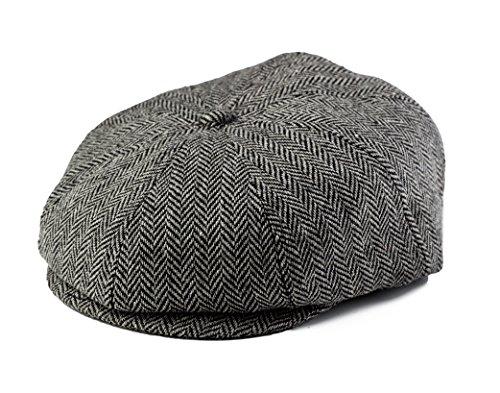 Baby Boy Ring Bearer Pageboy Scally Cap - Flat Ivy Newsboy Tweed Golf Cap Hat (XL 56 cm), Black and Gray