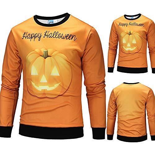 Mens Casual Scary Halloween Pumpkin Blouse Hot Sale !3D Print Party Long Sleeve Hoodie Top Blouse By Farjing (S,Orange) -