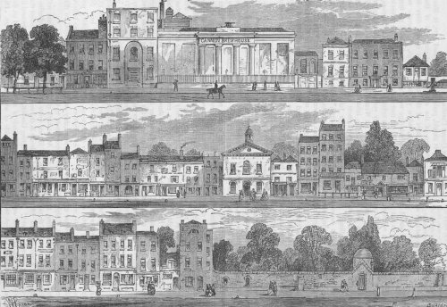 KNIGHTSBRIDGE. North Side in 1820. Cannon Brewery to Hyde Park Corner - c1880 - old print - antique print - vintage print - art picture prints of London (Best Breweries In London)