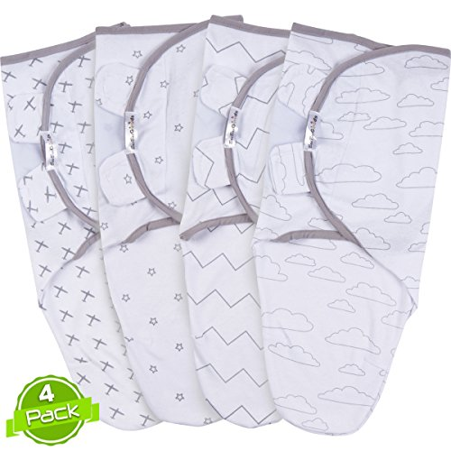 Swaddle Blanket Set, Adjustable Infant Baby Wrap Set of 4, Baby Swaddling Wrap Blankets Made in Soft Cotton, by BaeBae ()