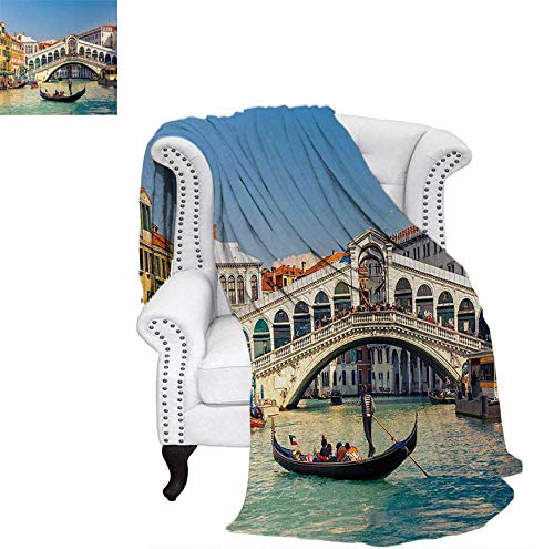 Lightweight Blanket Cityscape on a Sunny Day with Rialto Bridge Venetian Grand Canal Travel Destination Custom Design Cozy Flannel Blanket 50