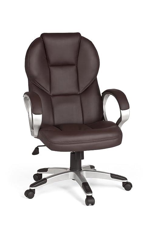 Amstyle Matera - Silla de Oficina (imitación de Piel), Color marrón