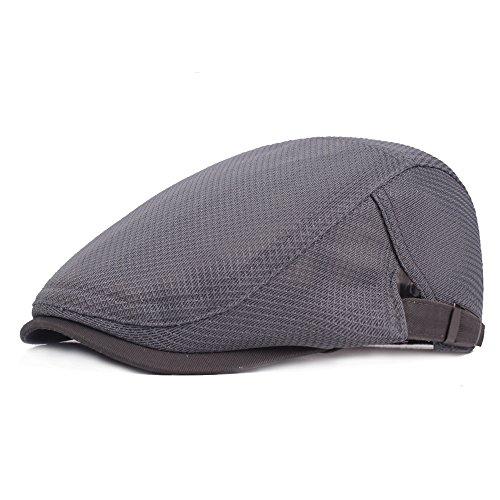 Leucos Ticte Men Breathable mesh Summer Hat Newsboy Beret Ivy Cap Cabbie Flat Cap (002Dark - Flat Cap Ivy