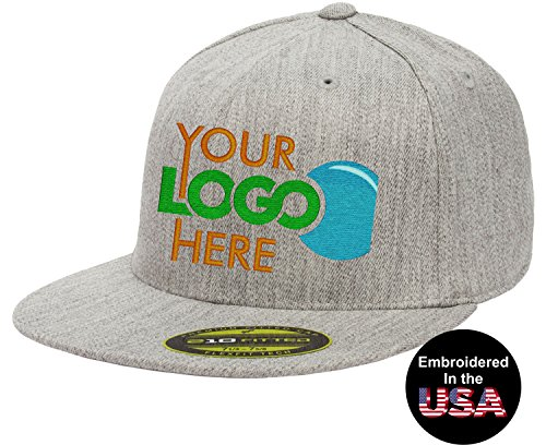 """Embroidered Fitted Cap - Personalized Flexfit 210 Cap. Custom Logo Hat. Embroidered. Fitted Flat Bill (Heather Gray, S/M (6 7/8"""" - 7 1/4""""))"""