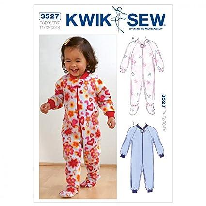 Amazon.com: Kwik Sew Toddlers Sewing Pattern 3527 Sleepers Pyjamas ...