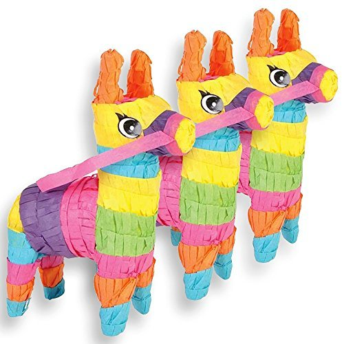MINI DONKEY PINATAS, 3 Count