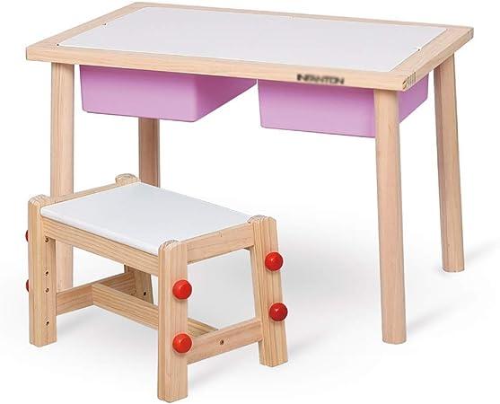 TONGSH Juego de Mesa y Silla de Madera Mesa de Estudio para niños Mesas y sillas
