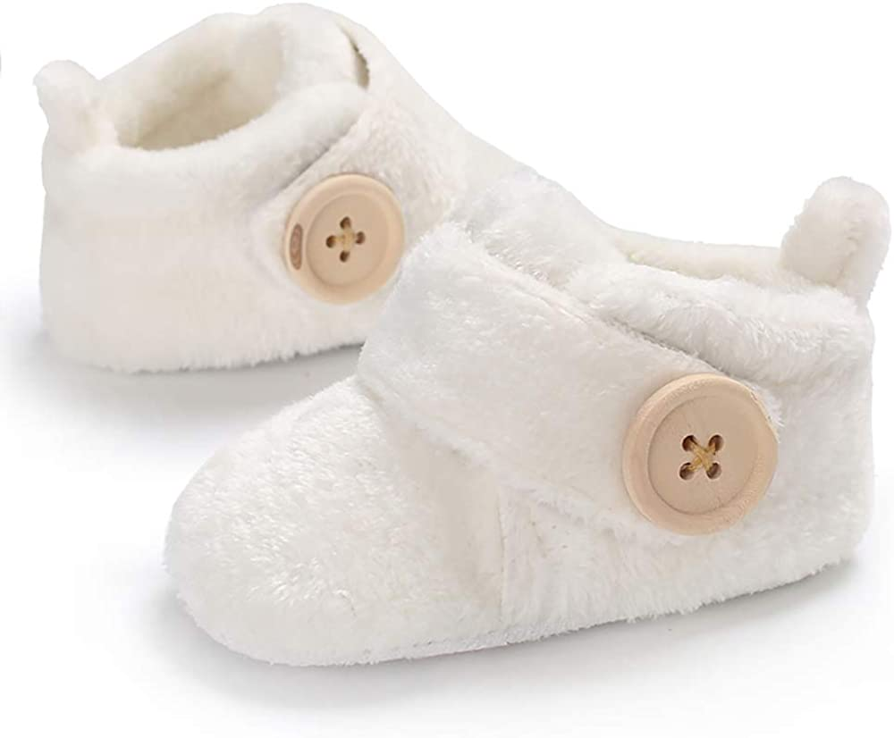 Ollily Newborn Baby Girls Boys Slippers Warm Fur Infant Boots Toddler Slip On Booties