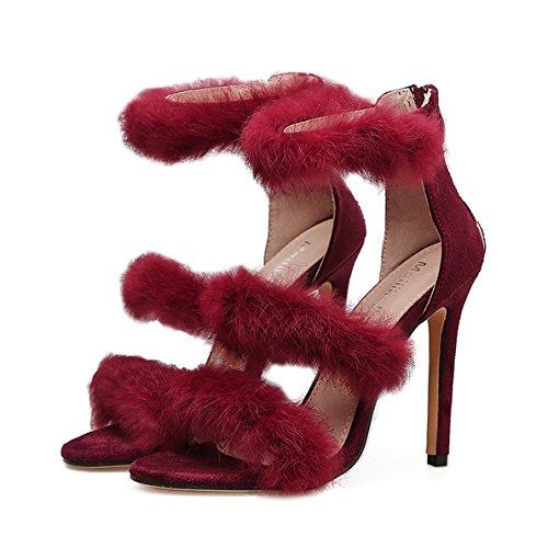 Femmes Sexy Bride à La Cheville Sandales Fluff Stiletto Talons Hauts Dames Belle Peep Toe Chaussures Parti Mariage Strappy Pompes Red ciyvuXFJA