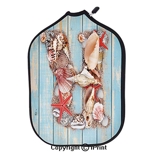 """Different charming personalized customized colors design,Tropical Animals in Alphabet Art Ocean Letter R Seashells Starfish Decorative(size:8.23"""" x 11.4"""")Pale Blue Ivory Dark Coral,for Neoprene Pickle"""