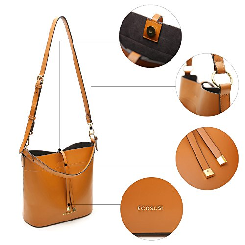 Brown Satchel ECOSUSI Tote Bag Shoulder Handbags Women Bucket Top Purse Handle Bag Bag xrrYp7w8O