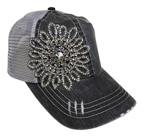 (Rhinestone Large Flower on Grey Trucker Cap Hat Fashion)