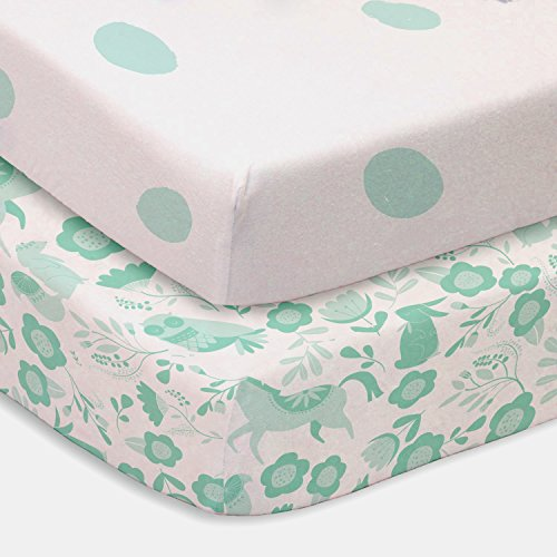 Seafoam Green Polka Dot and Folktale Forest Animals 2 Pack F