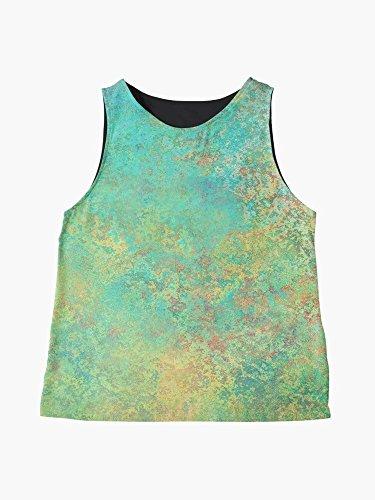 Shell Scoop (Blue, Green, Yellow Abstract Print Sleeveless Chiffon Blouse | Custom Tank Top | Custom Womens Blouse | Sleeveless Blouse | Scoop Neck Travel Wear | Tank Top Style Blouse | Abstract Shell)